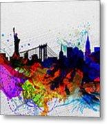 New York  Watercolor Skyline 1 Metal Print