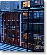 New York Window - Fire Escape In Winter Metal Print