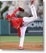 New York Yankees V Los Angeles Angels Metal Print