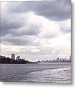 New York Harbor Panorama Twin Towers And Statue Metal Print