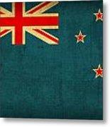 New Zealand Flag Vintage Distressed Finish Metal Print
