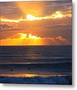 New Zealand Surfing Sunset Metal Print