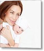 Newborn Healthy Infant With Mom Metal Print by Anna Om