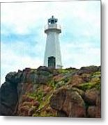 Lighthouse On Cliff Metal Print