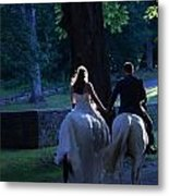 Newlyweds Ride Horseback Into The Sunset Metal Print