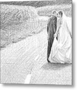 Newlyweds Walking Kissing Pencil Portrait Metal Print