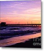 Newport Beach Pier Sunset In Orange County California Metal Print by Paul Velgos
