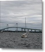 Newport Bridge With Newport Harbor Light Metal Print