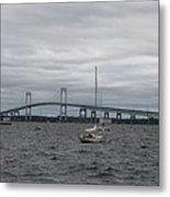 Newport Bridge With Newport Harbor Light Metal Print