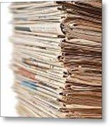 Newspaper Stack Metal Print