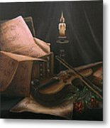 Next To Bach's Musical Scores Metal Print