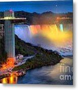 Niagara American Falls At Night Metal Print