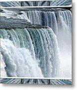 Niagara Falls American Side Closeup With Warp Frame Metal Print