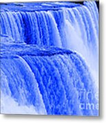 Niagara Falls Closeup In Blue Metal Print