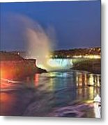 Niagara Falls Night Lights Panorama Metal Print