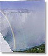 Niagara Falls With Winter Rainbow Metal Print