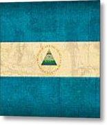 Nicaragua Flag Vintage Distressed Finish Metal Print