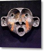 Nico Black And Orange Mask Metal Print