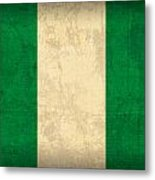 Nigeria Flag Vintage Distressed Finish Metal Print
