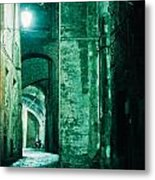Night Alley In Old City Of Siena Tuscany Italy Metal Print