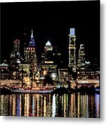 Night At Penn's Landing - Philadelphia Metal Print