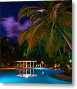 Night At Tropical Resort Metal Print