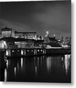 Night At Waterworks In Black And White Metal Print