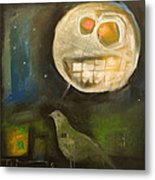 Night Bird Harvest Moon Metal Print