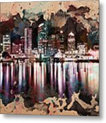 Night City Reflections Watercolor Painting Metal Print