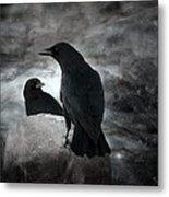 Mysterious Night Crows Metal Print
