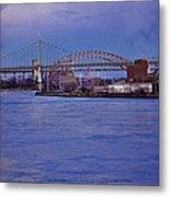 Night Descends Over The Triboro Bridge - Nyc Metal Print