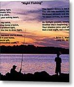 Night Fishing - Poem Metal Print