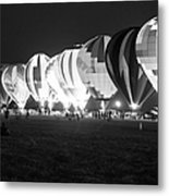 Night Glow Hot Air Balloons Bw Metal Print