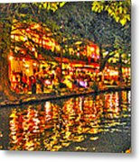 Night Life By The River Walk Metal Print