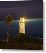 Night Lighthouse On The Bluff Metal Print