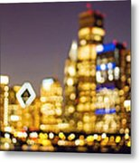 Night Lights - Abstract Chicago Skyline Metal Print