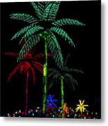 Night Lights Electric Palm Trees Metal Print