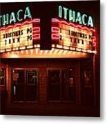 Night Lights Ithaca Theater Metal Print