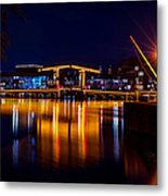 Night Lights On The Amsterdam Canals 1. Holland Metal Print