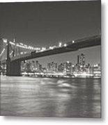 Night - New York City - Brooklyn Bridge Metal Print