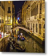 Night On The Canal - Venice - Italy Metal Print