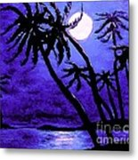 Night On The Islands Painterly Brushstrokes Metal Print