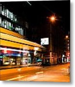 Night Scenery At The Crossroads - Bus Metal Print