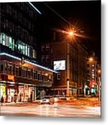 Night Scenery At The Crossroads - Cars Metal Print