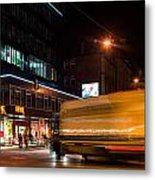 Night Scenery At The Crossroads - Truck Metal Print