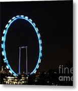 Night Shot Of The Singapore Flyer Ferris Wheel At Marina Bay Metal Print