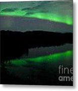 Night Sky Stars Clouds Northern Lights Mirrored Metal Print