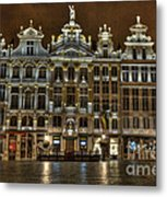 Night Time In Grand Place Metal Print