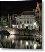 Night Time On The Canal Metal Print