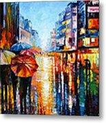 Night Umbrellas - Palette Knife Oil Painting On Canvas By Leonid Afremov Metal Print